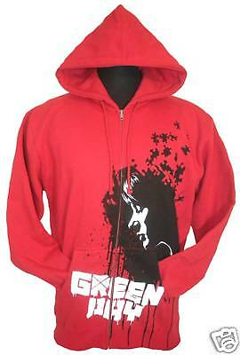 "New Mens Large GREEN DAY ""Melancholy"" Super Heavy Durable Red Zip Up CD Hoodie"