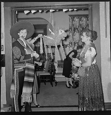 AW79862 Original 1957 2x2 BW Photo Negative Club Party Mexican Bullfight Costume