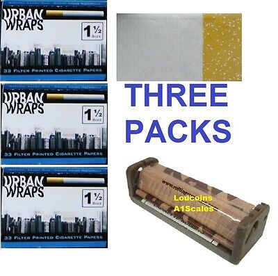 URBAN WRAPS 1 1/2 Size cigarette rolling papers THREE PACKS+ RAW ROLLER MACHINE