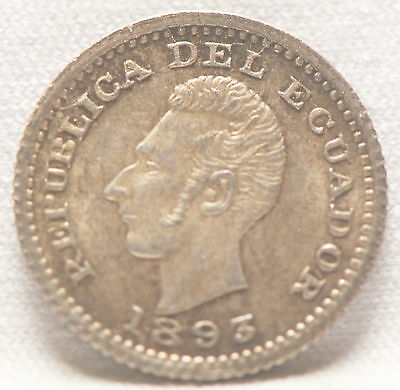 Ecuador, 1893-TF (G.1250) 1/2 Decimo, silver, Gem Brilliant Uncirculated