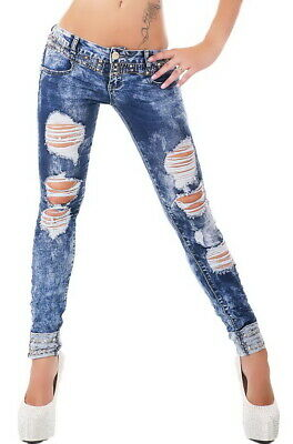 Women's Slim Skinny Studded Destroyed Stretch Denim Jeans - XS / S / M / L / XL