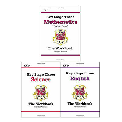 Key Stage Three Workbook Collection 3 Books Set, Maths,Science,English Brand NEW