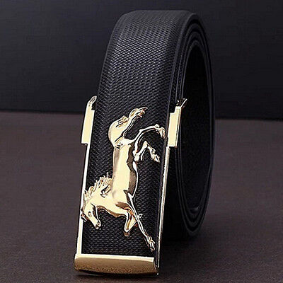 Luxury Mens Leather Belts Gold Horse Business Waist Strap Buckles Casual Belt