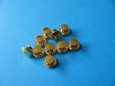 10, Pin Badge Backs / Fixings / Clutch / Clasp / Clip.  GOLD Coloured.