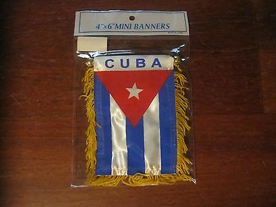 "NWT MINI BANNER  4""x 6""  - CUBA FLAG and COAT of ARMS"