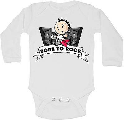 Born To Rock - Personalized Long Sleeve Baby Vests Bodysuits Unisex - White
