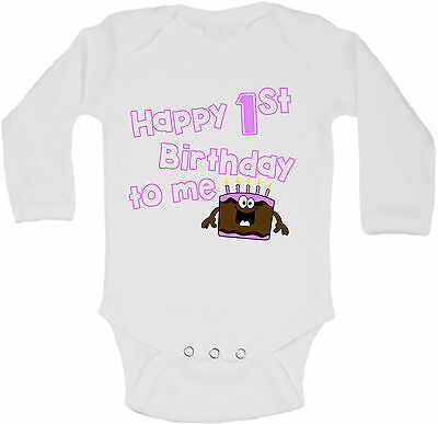 Happy First Birthday To Me Personalized Long Sleeve Baby Vests Bodysuits Girls