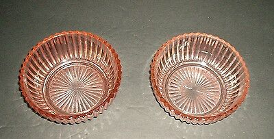 Anchor Hocking Queen Mary Pink 4 3/8 Inch Bowls