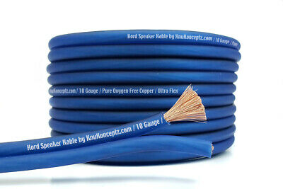 KnuKonceptz Kord Copper Speaker Wire Ultra Flex Blue OFC 10 Gauge Cable 50' 15M