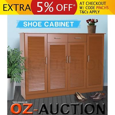 Extra Large Brown Wooden Shoe Cabinet Organiser Storage Max.40 Pairs 12 Shelves