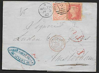 Malta covers 1862 mixed franked Forerunner folded cover to Amsterdam / Postmarks