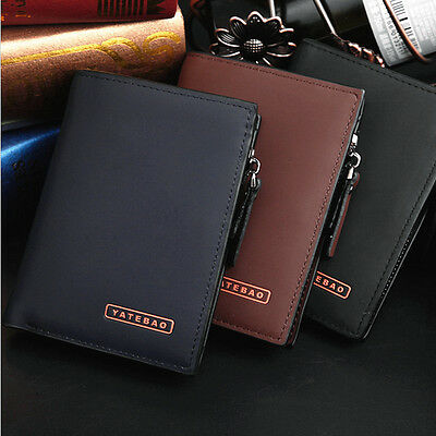 Luxury Mens Soft Leather Wallet With Large Zipped Coin Pocket Card Holder Bag