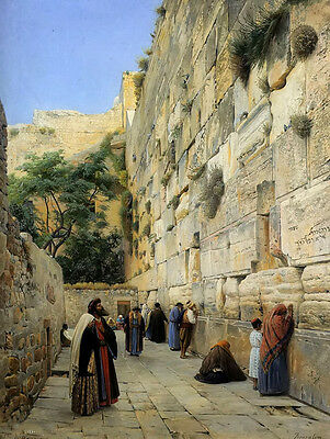 Oil painting gustav bauernfeind - the wailing wall jerusalem with many people @@