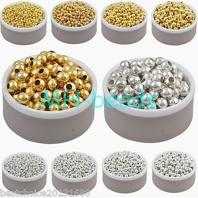 Wholesale Gold Silver Plated Alloy Round Spacer Loose Beads Charms 3 4 5 6 8 mm
