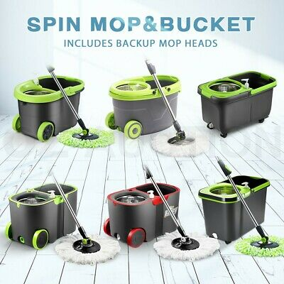 360 Degree Spin Mop & Stainless Steel Spinning Dry Bucket w/ Mop Heads Free Home