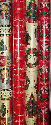 4 x Rolls Of 6M Christmas Gift Wrap Wrapping Paper Traditional Tree & Wreath