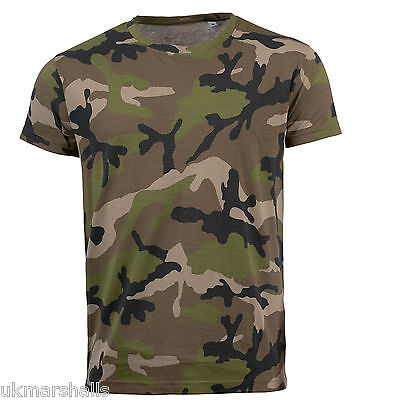 Sols Mens Camouflage Camo Slim Fit T-Shirt - 01188 - Brand New