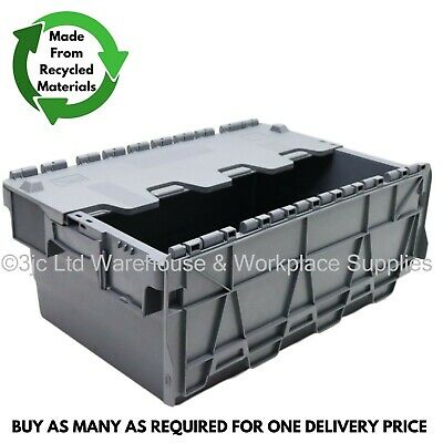 40L Heavy Duty Industrial Plastic Storage Distribution Box Boxes & Attached Lids