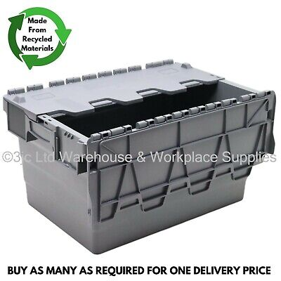 54L Heavy Duty Industrial Plastic Storage Distribution Box Boxes & Attached Lids