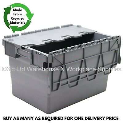 64L Heavy Duty Industrial Plastic Storage Distribution Box Boxes & Attached Lids