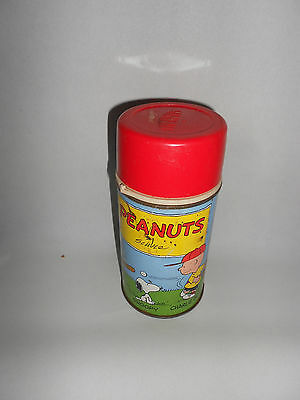 Vintage Peanuts Metal Thermos With Red Cap & Stopper