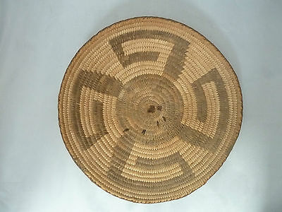 "Native American Weave Basket Tray. Very Nice Design. Approx 9 1/2"" Diameter"