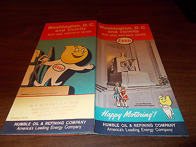 1961 Esso Washington, DC Vintage Road Map / Nice Cover Art of Lincoln Memorial