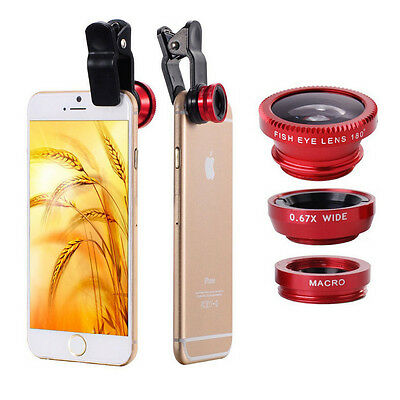 Universal 3in1 Clip On Camera Lens Kit Wide Angle Fish Eye Macro For Smart Phone