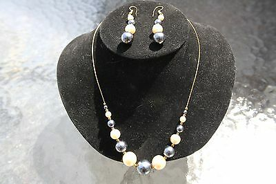 Ladies 18K HGE Two Tone Faux Pearl Necklace & Earring Sets 120 Per Lot Shipped
