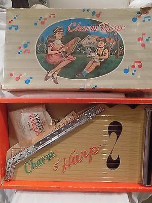 Vintage Lap Harp F.M.T Charm Harp in Box with 11 Music Sheets, Strings,In Box