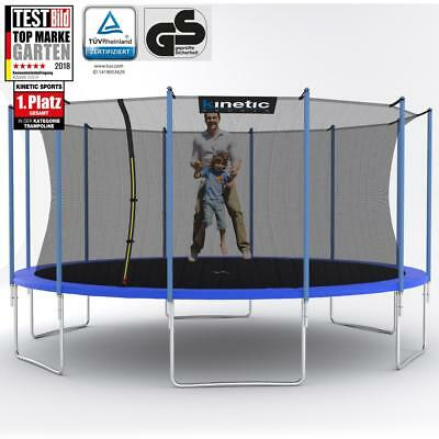 Kinetic Sports Trampolin Outdoor Gartentrampolin mit Netz Randabdeckung 490 cm