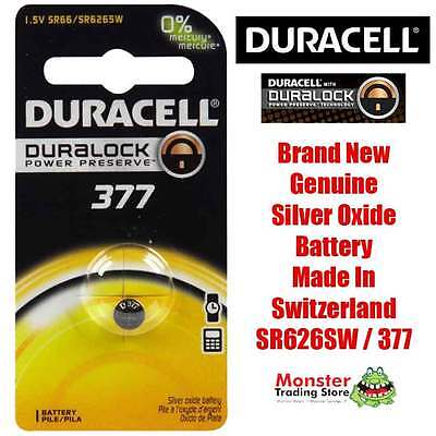 1 Pcs Duracell Sr626Sw 377 1.55V Silver Oxide Battery For Watch New & Genuine