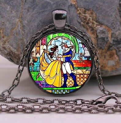 Vintage Beauty And The Beast Glass Pendant Necklace Tale As Old As Time