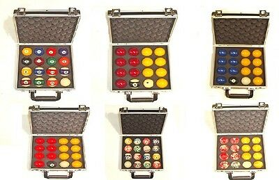 """Various Types Of 2"""" Pool Balls Supplied In A Case"""
