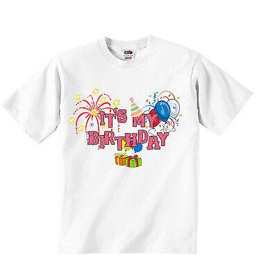 Its My Birthday Personalized Girls T-shirt Tees Clothing White Soft Cotton