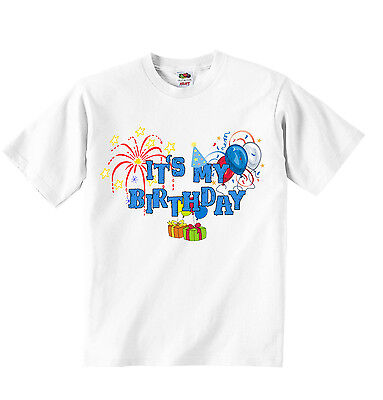 Its My Birthday Personalized T-shirt Tees Clothing Soft Cotoon Boys White