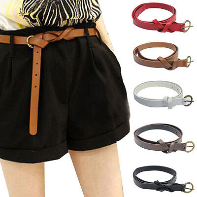 Fashion Women's Belt Leather Narrow Skinny Waistband Thin Loop Bow Waist Belts