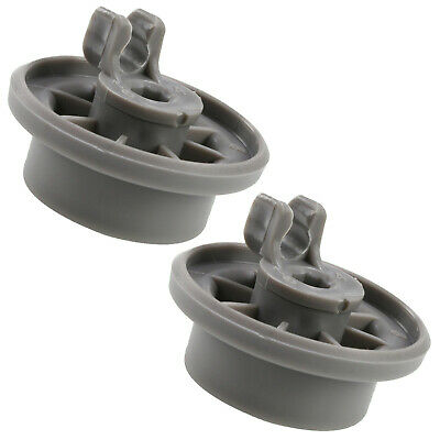 2 x Dishwasher Lower Basket Rail Wheels For Bosch Neff & Siemens - Grey