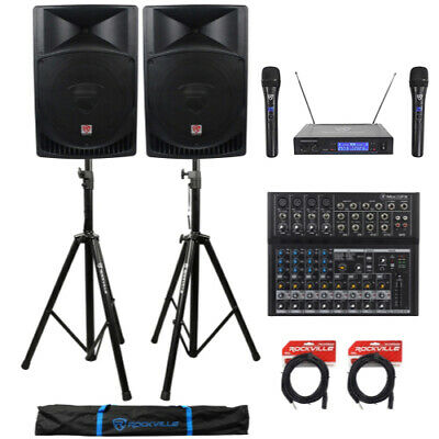 """(2) Rockville RPG15 15"""" 2000w Active PA/DJ Speakers+Mixer+Mic+Stands+Cables+Bag"""