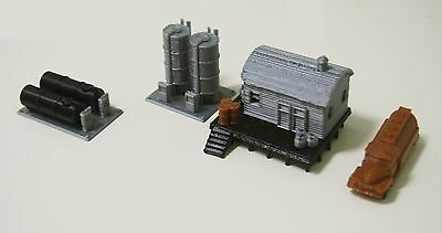 Outland Models Railway Miniature Fuel / Gas Tank Set with Office & Truck N Scale