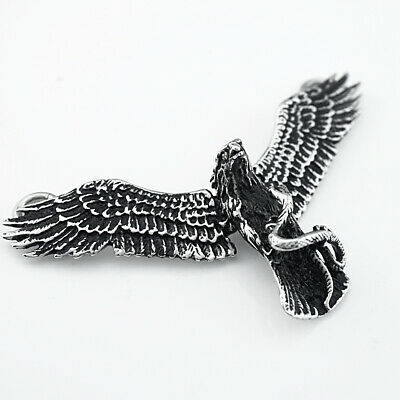 Men's Cool Stainless Steel Eagle Shape Pendant Necklace Chain Jewelry Charm