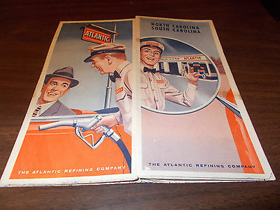 1957 Atlantic North and South Carolina Vintage Road Map