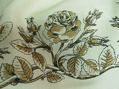 """VINTAGE IVORY LINEN with BLACK & GOLD ROSES BORDER TABLECLOTH 62"""" X 77"""""""