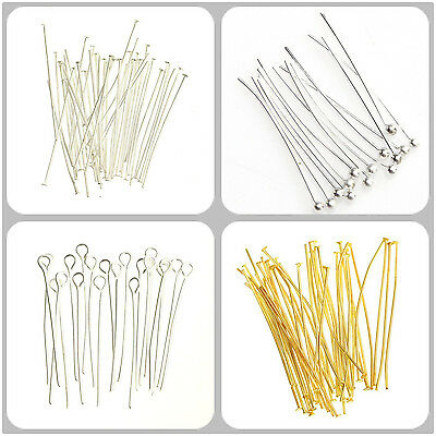 EX.HOT Silver Plated Ball Head Eye Pins Jewelry Finding 15/20/30/40/50/60mm