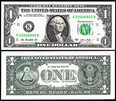 "United States One Dollar U.S.A. $1 2013  ""K"" Series Bill Uncirculated .1Pieces"