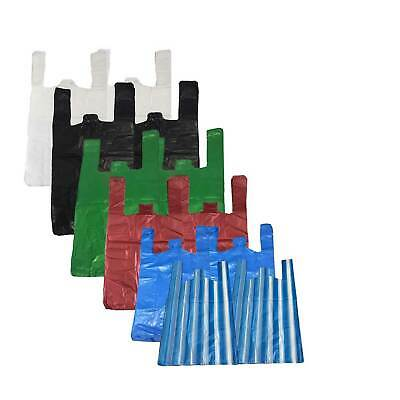 ALL SIZES & COLOURS - Strong Plastic Vest Carrier Bags for Supermarkets Stalls