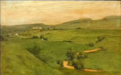 Oil painting Hans Thoma - hilly landscape with village creek spring landscape