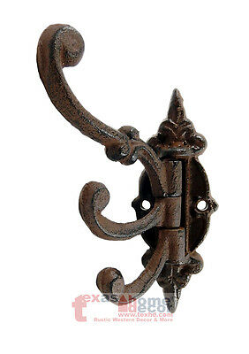 Cast Iron Swivel 3 Hooks Coat, Towel, Purse Hanger Victorian Fleur De Lis Rustic