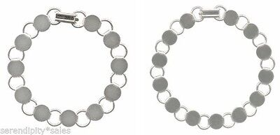 """2 BRACELET BLANKS: 1 each 8.25"""" + 1 each 7.25""""  SILVER Plated Flat round pads"""