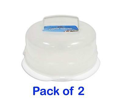 Pack of 2 Plastic Cake Saver 31cm with Handle Perfect to Keep Cakes Fresh